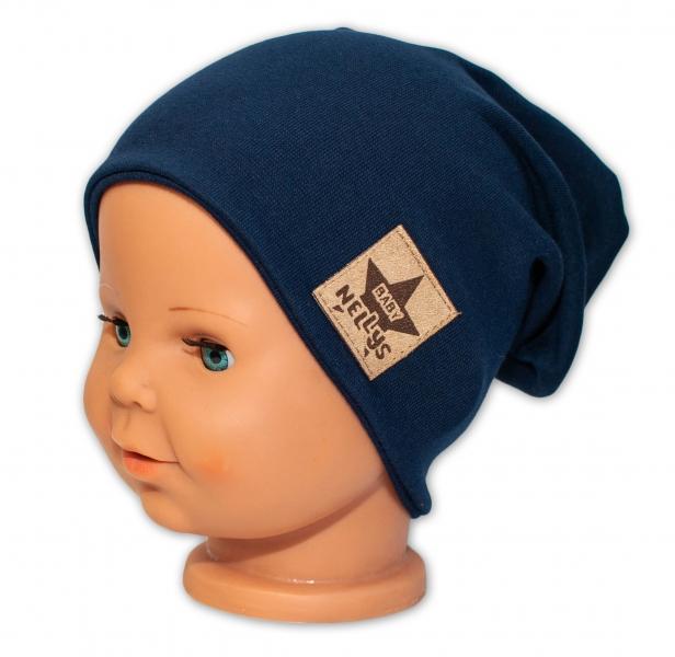 Baby Nellys Dětská bavlněná čepice - dvouvrstvá, granátová, 44-48 cm