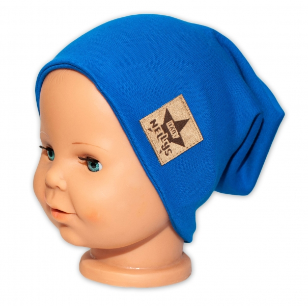 Baby Nellys Dětská bavlněná čepice - dvouvrstvá, tm. modrá