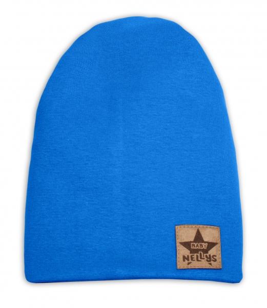 Baby Nellys Hand Made Jarní, podzimní bavlněná čepice - dvouvrstvá, tm. modrá, 44-48 cm, Velikost: 3-7 let