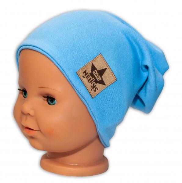 Baby Nellys Dětská bavlněná čepice - dvouvrstvá, sv. modrá