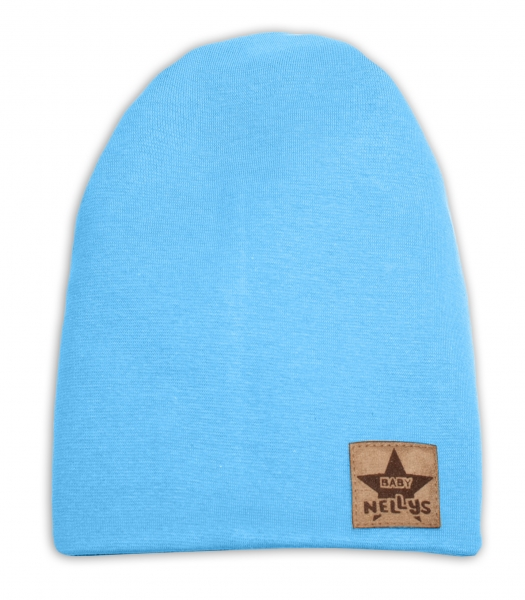 Baby Nellys Hand Made Jarní, podzimní bavlněná čepice - dvouvrstvá, sv. modrá, 44-48 cm, Velikost: 3-7 let