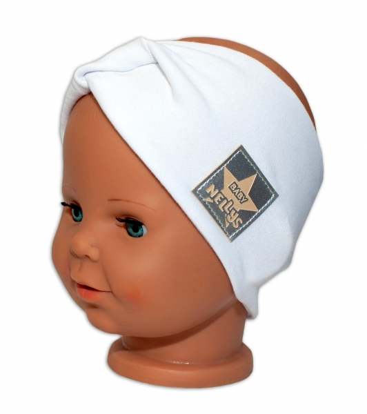 Baby Nellys Hand Made Jarní, bavlněná čelenka - dvouvrstvá, bílá