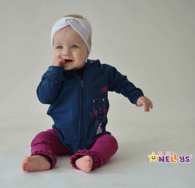 Baby Nellys Hand Made Bavlněná čelenka - dvouvrstvá, bílá, 1-3 roky