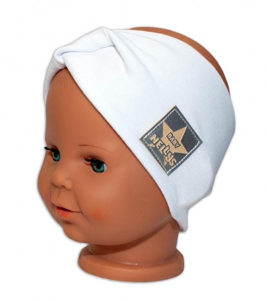 Baby Nellys Hand Made Jarní, bavlněná čelenka - dvouvrstvá, bílá, 44-48 cm