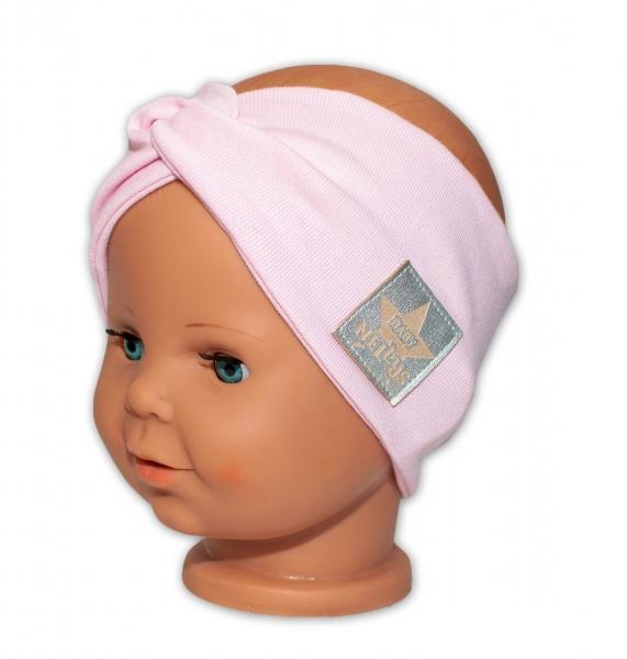 Baby Nellys Hand Made Jarní, bavlněná čelenka - dvouvrstvá, sv. růžová