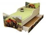 Dětská postel se zábranou a šuplík/y Auto - 200x80 cm