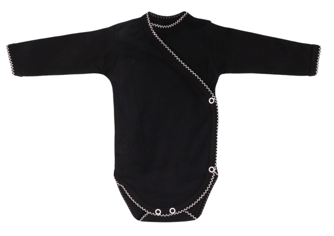 Mamatti Kojenecké body dlouhý rukáv, zapínání bokem,  Bow  - černé, vel. 62