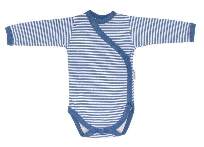 Mamatti Kojenecké body dlouhý rukáv, zapínaní bokem, World - modrý proužek, vel. 62