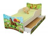 NELLYS Dětská postel se zábranou a šuplík/y Farma - 200x90 cm