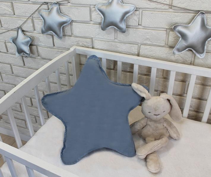Baby Nellys Dekorační oboustranný polštářek - Hvězdička, 45 cm - šedá