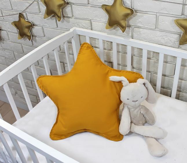 Baby Nellys Dekorační oboustranný polštářek - Hvězdička, 45 cm - hořčicová