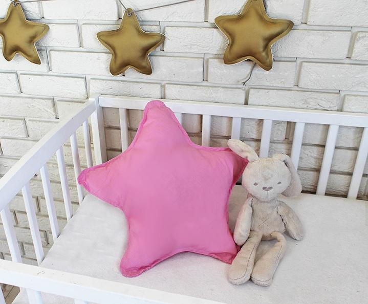 Baby Nellys Dekorační oboustranný polštářek - Hvězdička, 45 cm - růžový