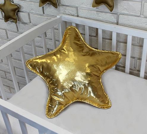 Baby Nellys Dekorační oboustranný polštářek - Hvězdička, 45 cm - zlatý