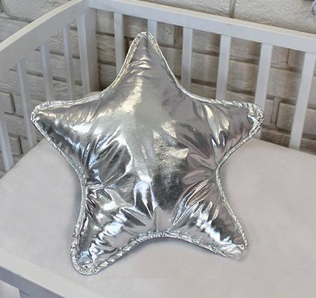 Baby Nellys Dekorační oboustranný polštářek - Hvězdička, 45 cm - stříbrný