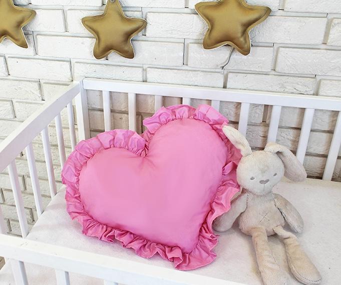 Baby Nellys Dekorační oboustranný polštářek - Srdce, 45  x 40 cm - růžové