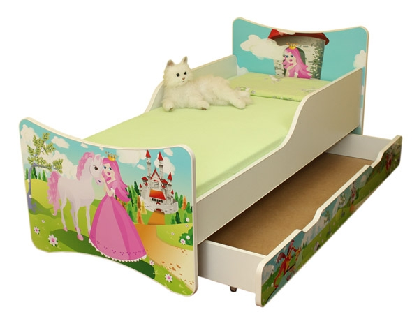 NELLYS Dětská postel se zábranou a šuplík/y Princezna - 160x70 cm