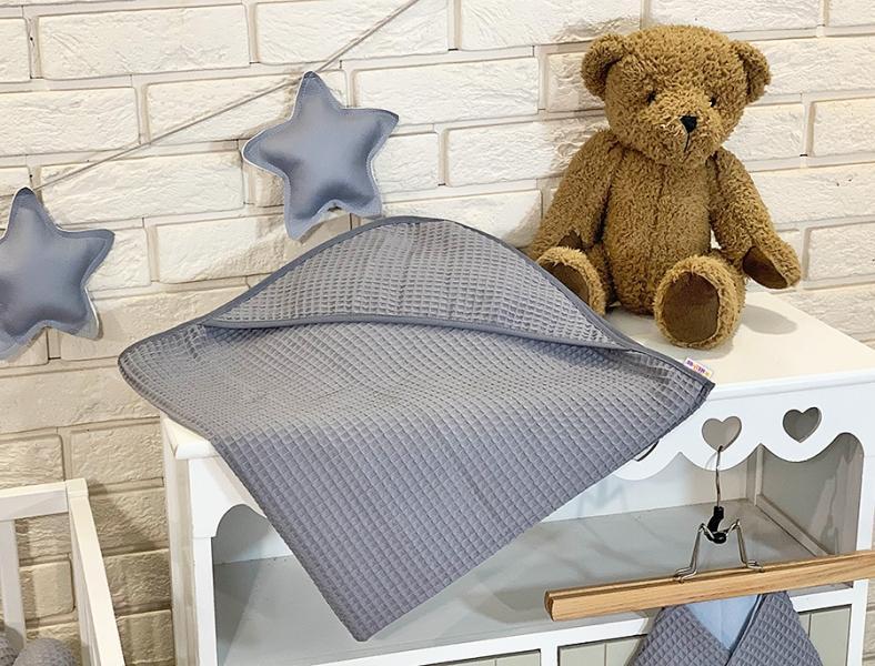 BABY NELLYS Osuška s kapucí 80 x 80 cm - vaflová, šedá