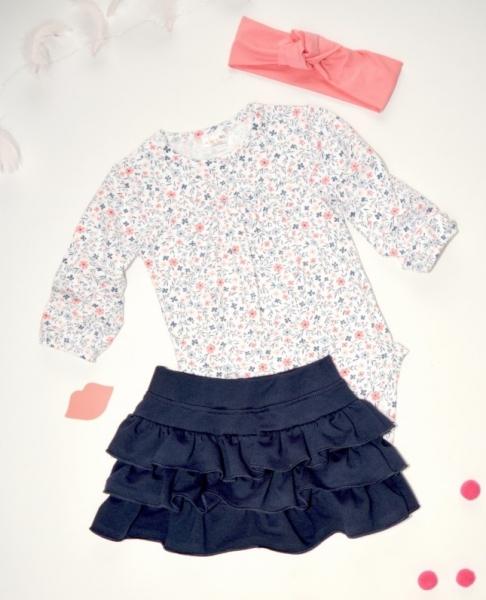 K-Baby 3 dílná sada - body dl. rukáv, suknička, čelenka - drobné kvítky, vel. 86