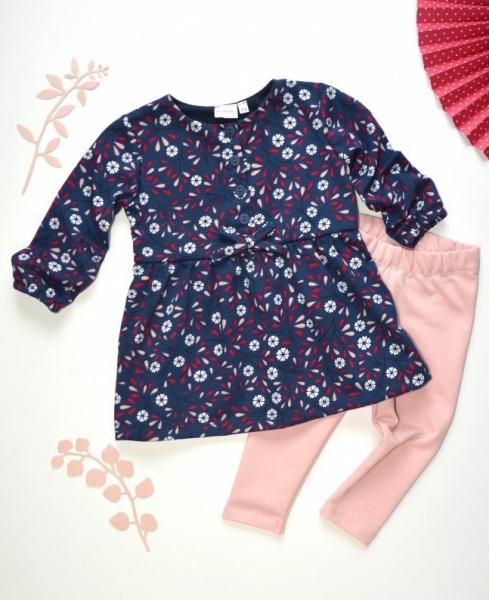 K-Baby 2 dílná sada - šaty + legíny, tm.modrá/starorůžová