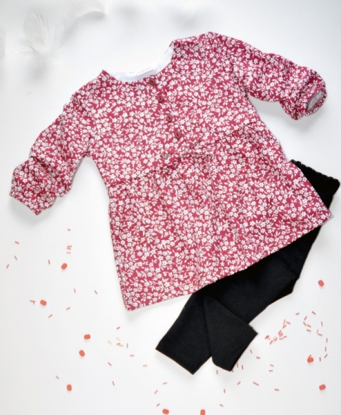 K-Baby 2 dílná sada - šaty + legíny, vínovo/černá