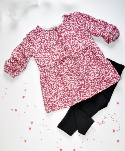 K-Baby 2 dílná sada - šaty + legíny, vínovo/černá, vel. 86