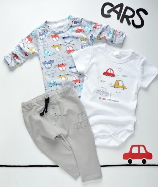 K-Baby 3 dílná sada - body kr. rukáv, body dl. rukáv, tepláčky - autíčko