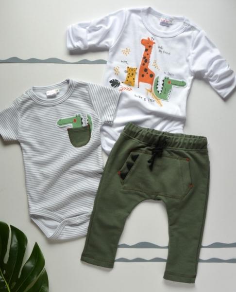 K-Baby 3 dílná sada - body kr. rukáv, body dl. rukáv, tepláčky - safari