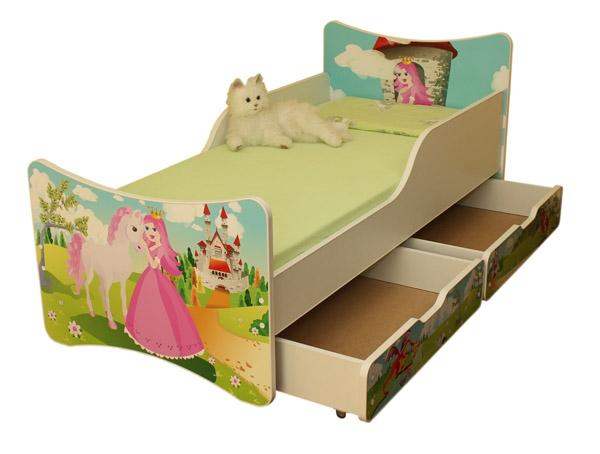 Dětská postel a šuplík/y se zábranou Princezna - 180x90 cm