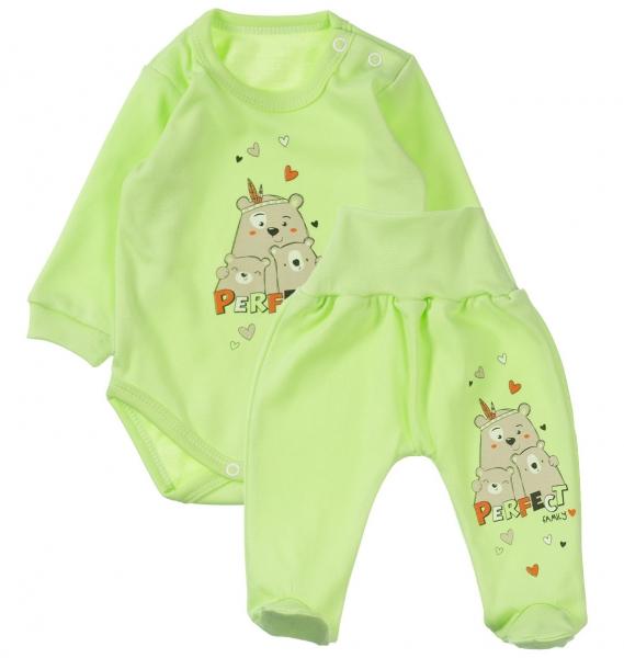 MBaby 2-dílná kojenecká sada Perfect family - zelená, vel. 62
