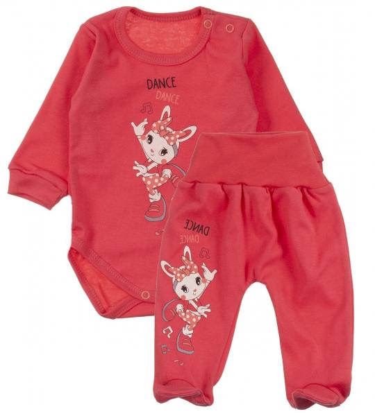 MBaby 2-dílná kojenecká sada Dance tanečnice - korálová, vel. 68