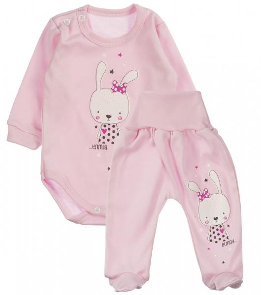 MBaby 2-dílná kojenecká sada Bunny - růžová, vel. 68
