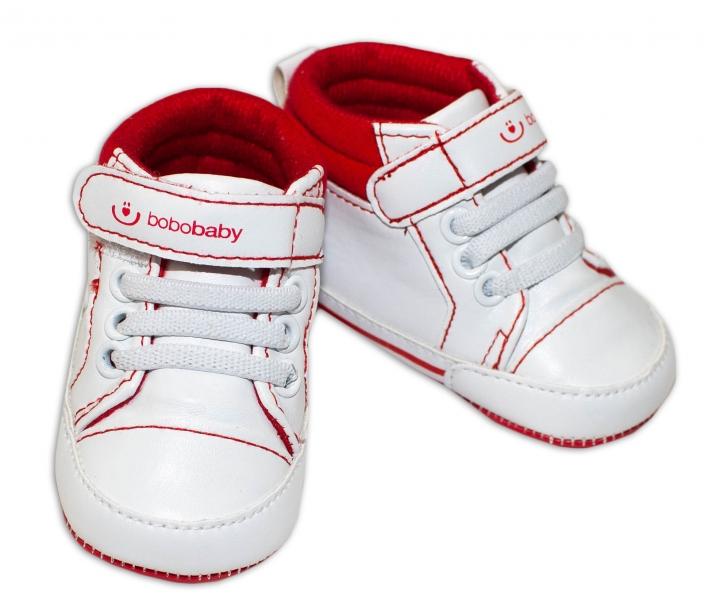 Jarní capáčky/tenisky BOBO BABY- bílé/červené, Velikost: 3/6měsíců