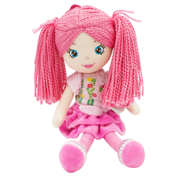 Hadrová panenka Markétka s růžovými vlásky, Tulilo, 35 cm - růžová