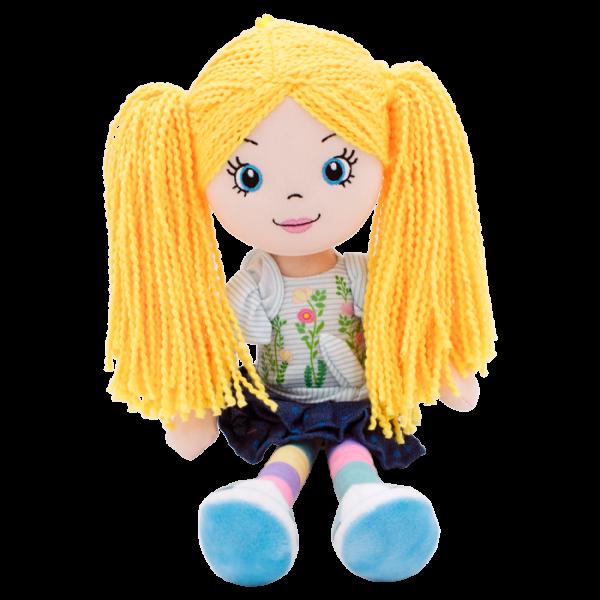 Hadrová panenka Markétka se žlutými vlásky, Tulilo, 35 cm - jeans