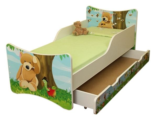 NELLYS Dětská postel se zábranou a šuplík/y Medvídek