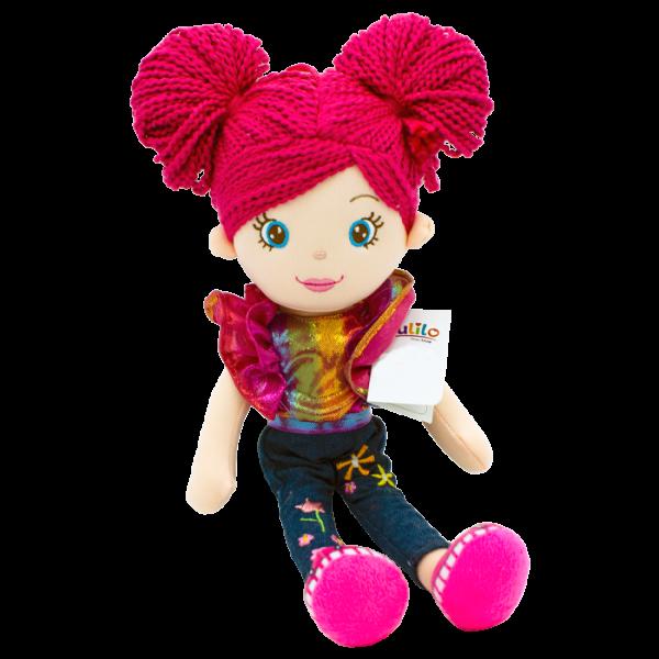 Hadrová panenka Markétka s růžovými vlásky, Tulilo, 35 cm - jeans