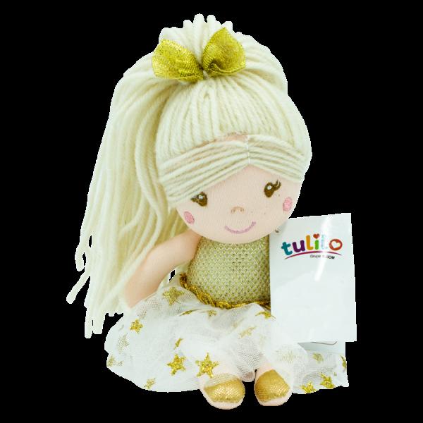 Hadrová panenka Julie s dlouhými vlásky, Tulilo, 20 cm - zlatá
