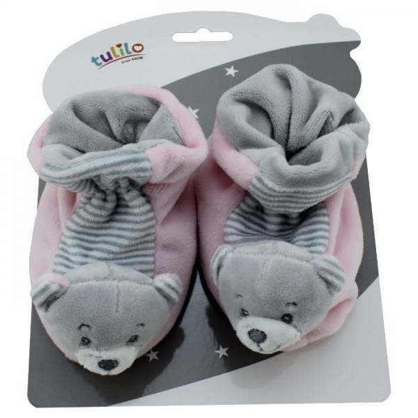 Kojenecké botičky s chrastítkem Tulilo - Medvídek růžový