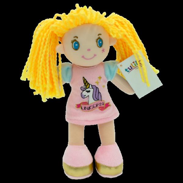 Hadrová panenka Sofie se žlutými vlásky, Tulilo, 20 cm - růžová