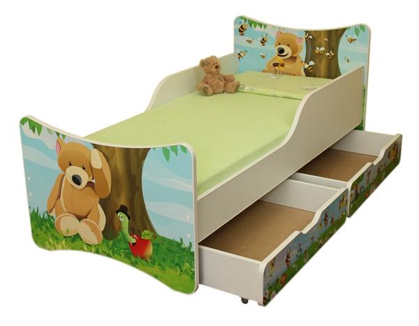 NELLYS Dětská postel se zábranou a šuplík/y Medvídek -180x90 cm