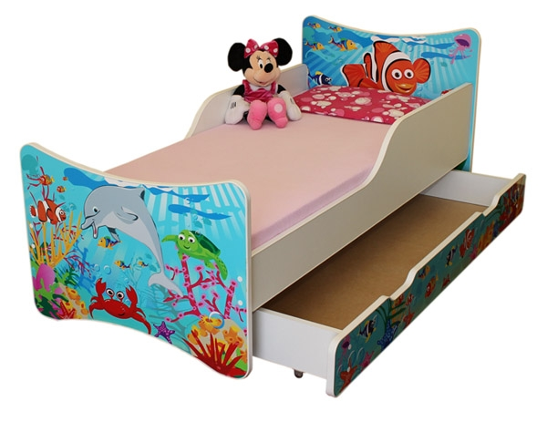 NELLYS Dětská postel se zábranou a šuplík/y Oceán