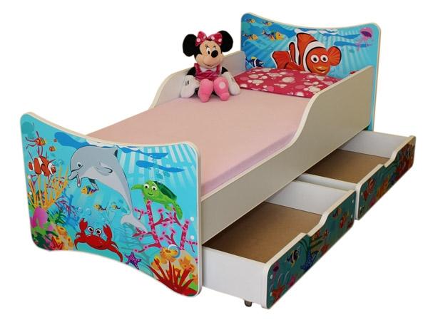 NELLYS Dětská postel se zábranou a šuplík/y Oceán - 200x80 cm