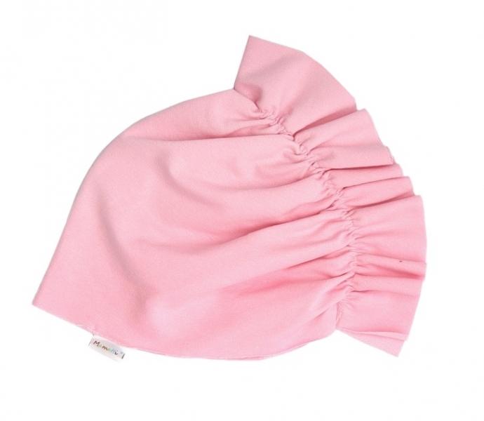 Mamatti Bavlněná  dětská čepice - turban  světle růžový