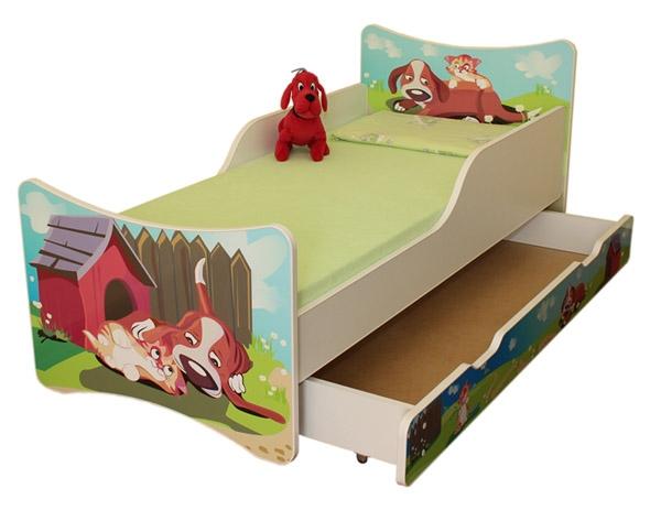 NELLYS Dětská postel se zábranou a šuplík/y Pejsek a kočička - 160x90 cm