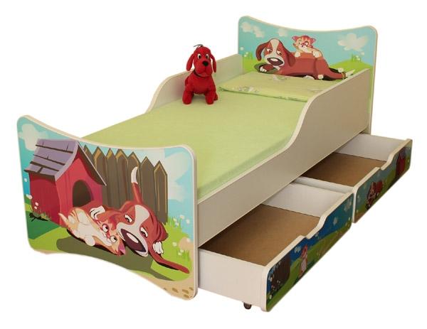 NELLYS Dětská postel se zábranou a šuplík/y Pejsek a kočička - 200x90 cm