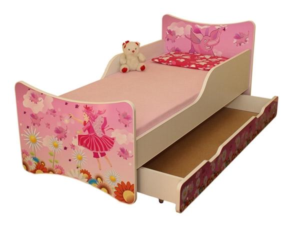 NELLYS Dětská postel se zábranou a šuplík/y Víla