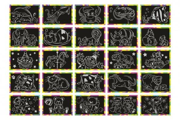 Škrabací obrázek duhový 15x10cm na kartě 24ks v boxu