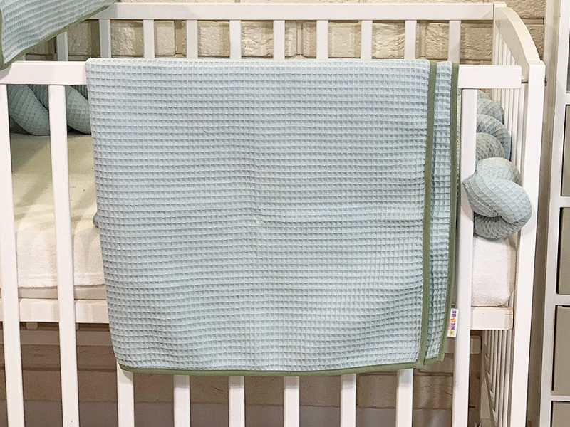 BABY NELLYS Dětská, kojenecká deka 90 x 90 cm - vaflová, mátová