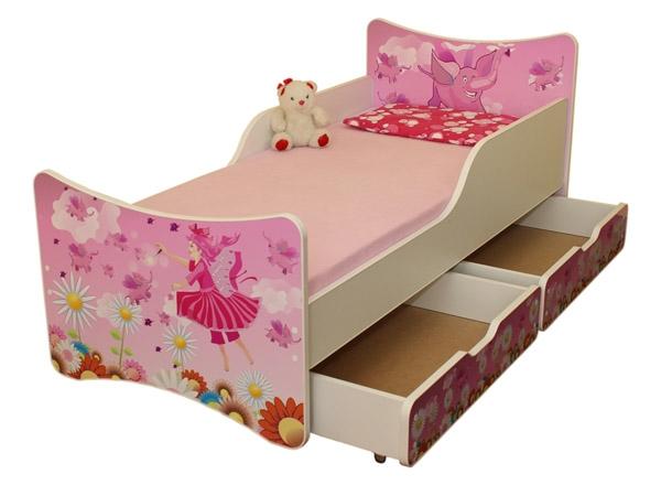 NELLYS Dětská postel se zábranou a šuplík/y Víla - 200x90 cm