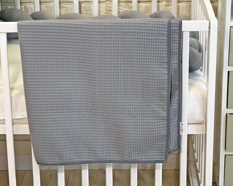 BABY NELLYS Dětská, kojenecká deka 90 x 90 cm - vaflová, šedá